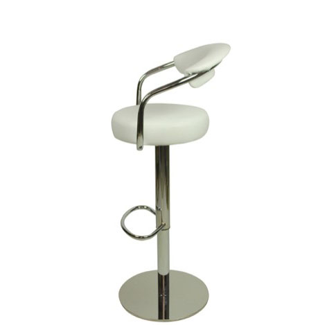 Deluxe Zenith Bar Stool with Arms - White